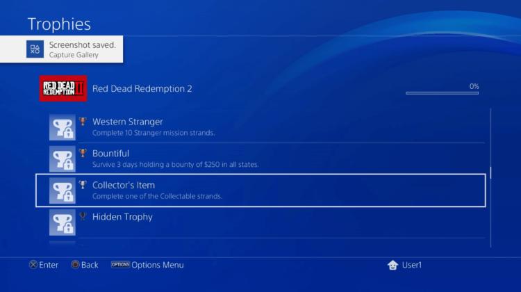 liste des trophées de Red Dead Redemption II