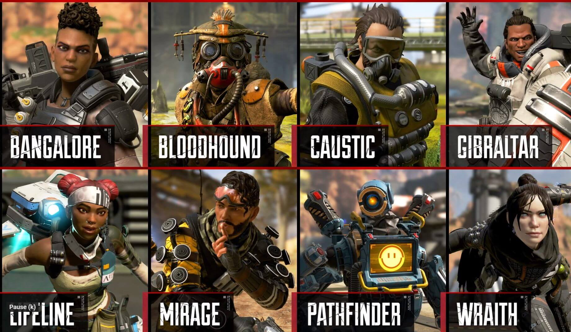 les 8 légendes disponibles actuellement