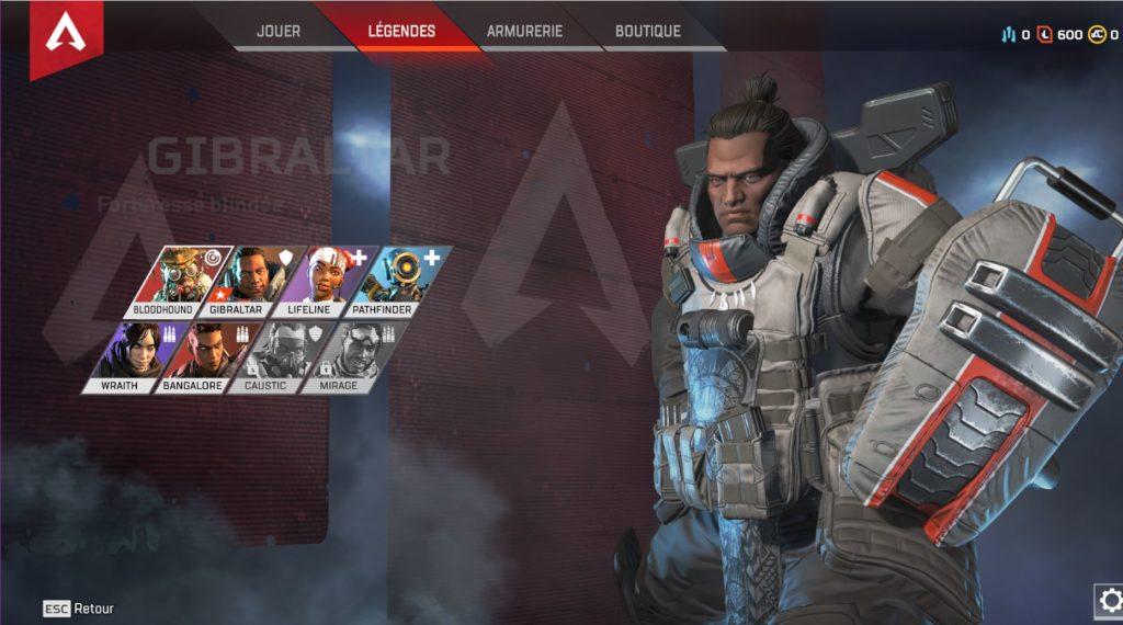 Personnages jouables d'APEX Legends