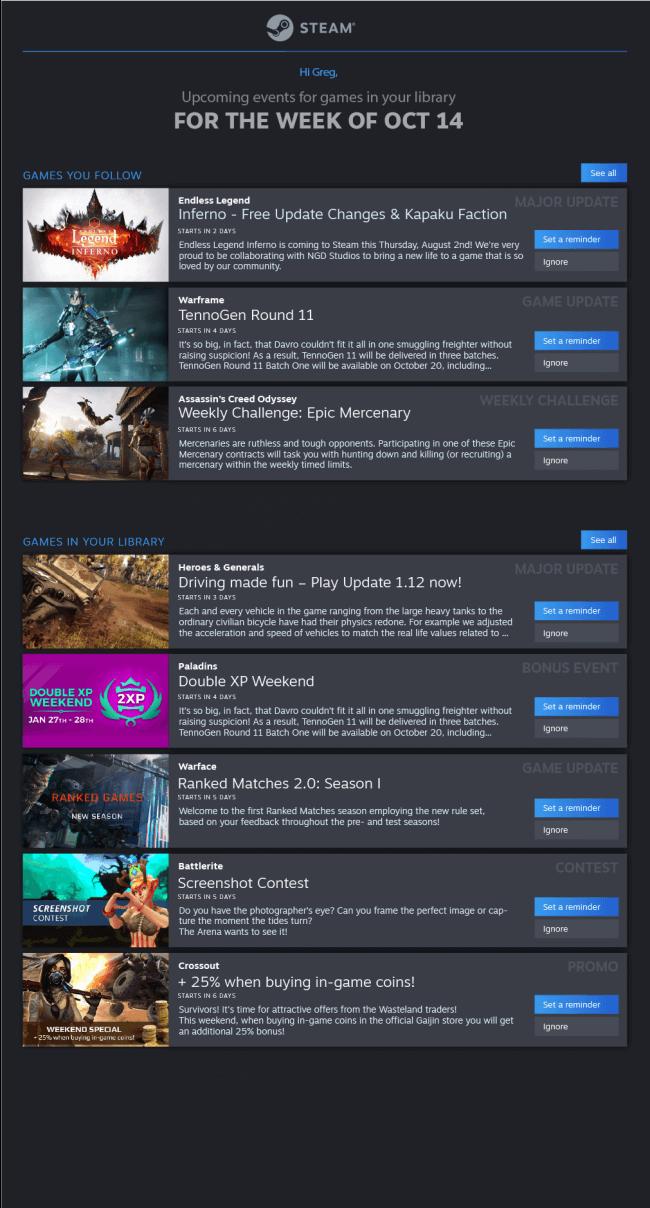 Le calendrier des Steam events, ou événement Steam