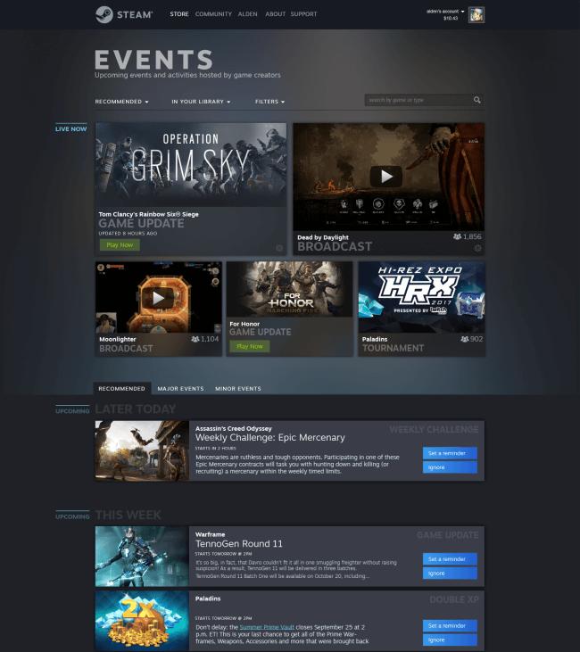 Steam Events, nouveau design