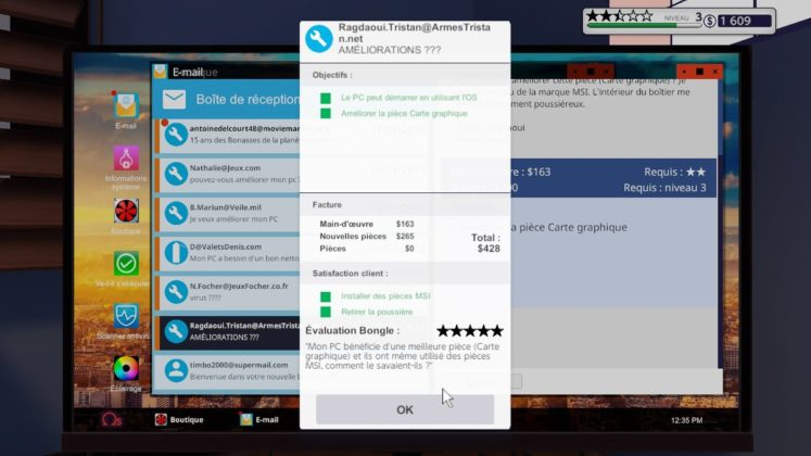 PC Building Simulator - Satisfacton du client