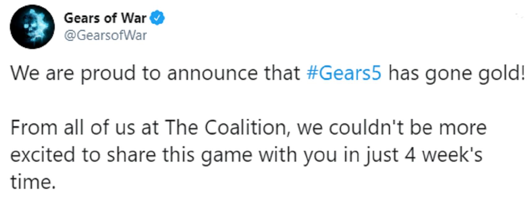 Tweet du compte officiel de la série de jeux Gears of War.