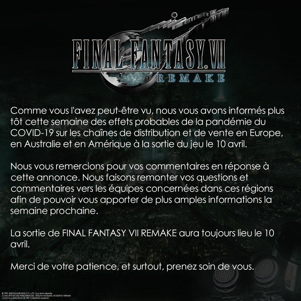 Communiqué Square Enix retard de livraison Final Fantasy VII Remake