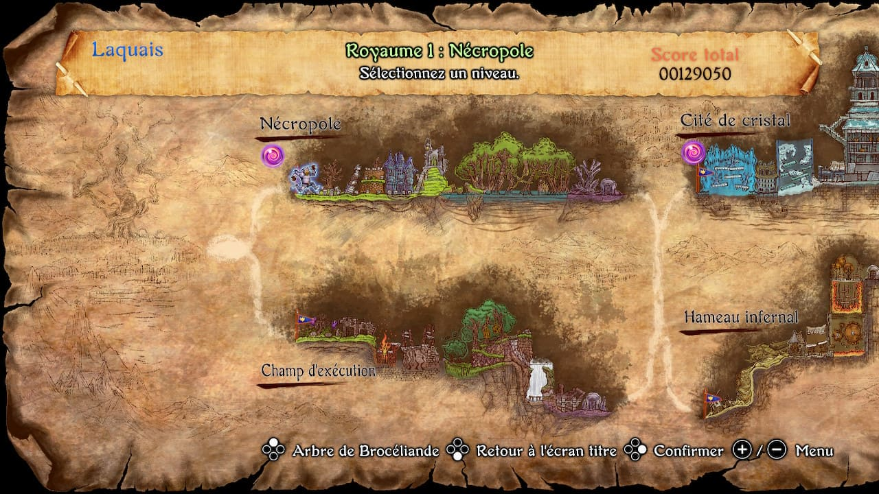 Le début de la carte des niveaux.